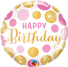 'Happy Birthday' Pink and Gold Dots Foil Balloon